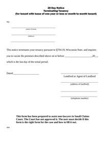 Cancellation Of Dd Letter Format Wisconsin Lease Termination Letter Form 28 Day Notice