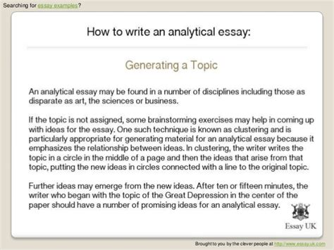 Write Analytical Essay by How To Write An Analytical Essay Essay Exles