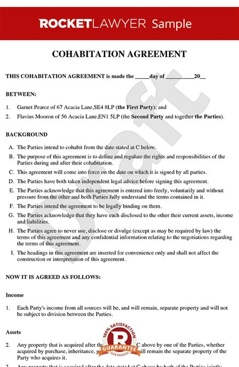Cohabitation Agreement Sle Living Together Agreement No Nup Living Agreement Contract Template