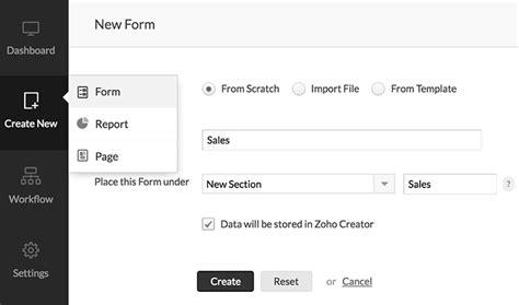Adding A New Form Help Zoho Creator Zoho Creator Templates