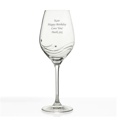 crystal wine glasses engraved spiral diamante crystal wine glass with swaroski