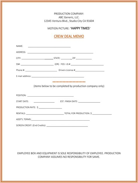 Deal Memo Template Producer Lamoureph Blog Talent Deal Memo Template