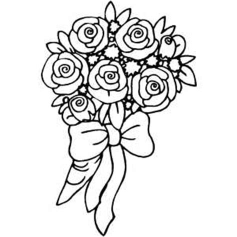 Roses Bouquet With Bow Coloring Sheet Bouquet Roses Coloring Pages