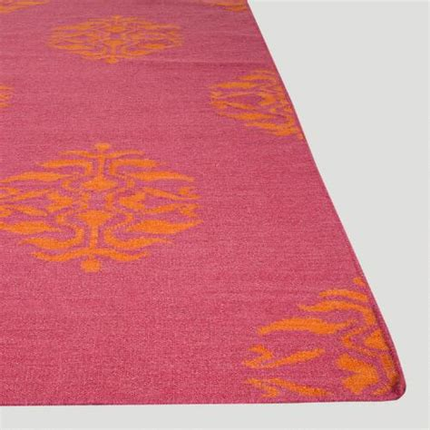 pink and orange medallion flat woven wool rug world market
