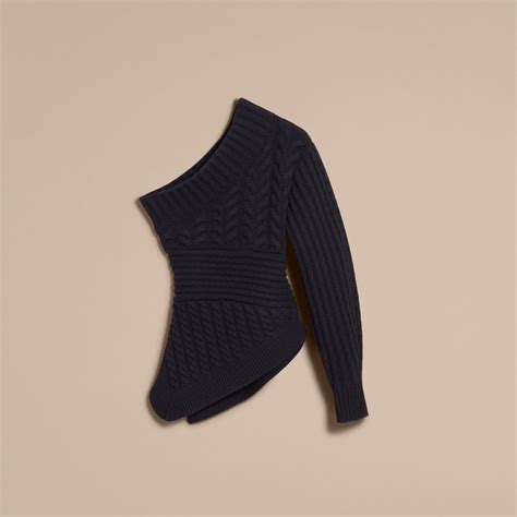 one shoulder knit sweater one shoulder cable knit sweater in navy