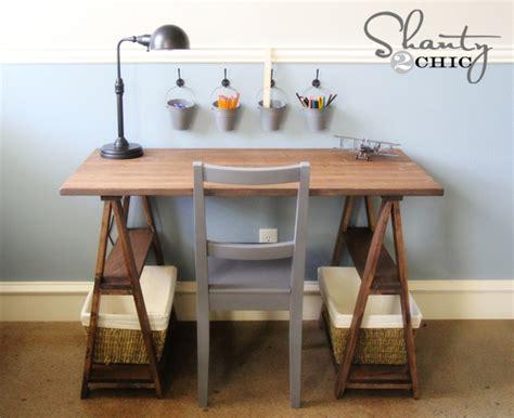 white 1x3 sawhorse desk diy projects