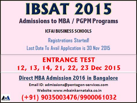 Aptitude Test For Mba by Ibsat 2015 Date Application Fee Icfai Business School