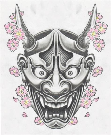 japanese mask tattoo design hannya mask hannya masking