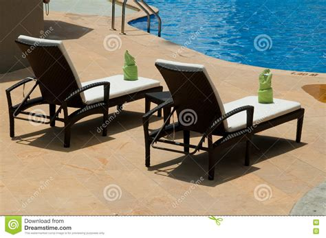 Hotel Pool Lounge Chairs by Hotel Swimming Pool Lounge Chairs Stock Image