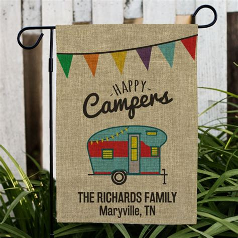 personalized happy camper burlap garden flag giftsforyounow