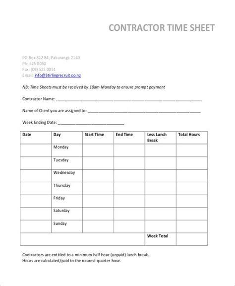 independent contractor timesheet pacq co