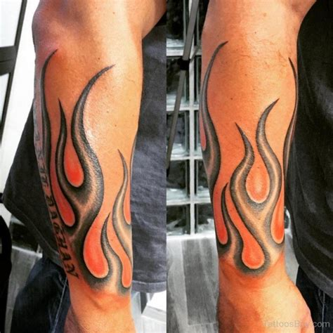 flaming cross tattoo stylish on arm sleeve tatoo