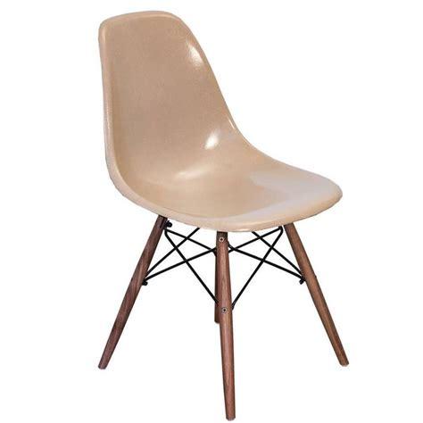 eames fiberglass greige shell chairs  walnut dowel base  sale  stdibs