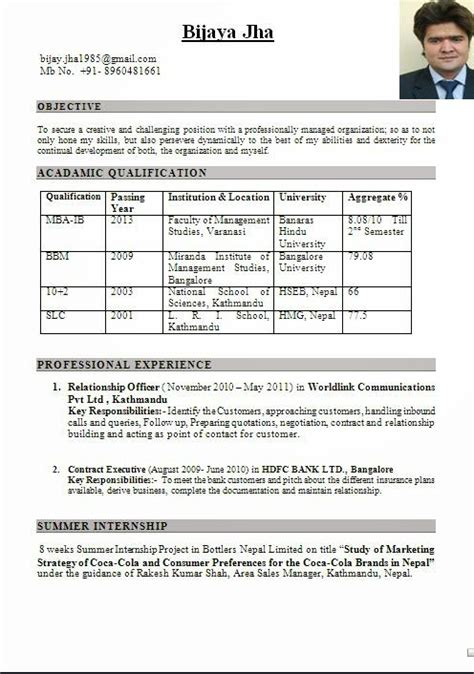 mba marketing fresher resume format mba international business fresher resume