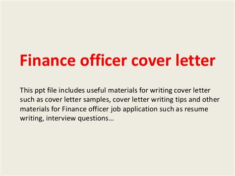 Finance Officer Application Letter Finance Officer Cover Letter