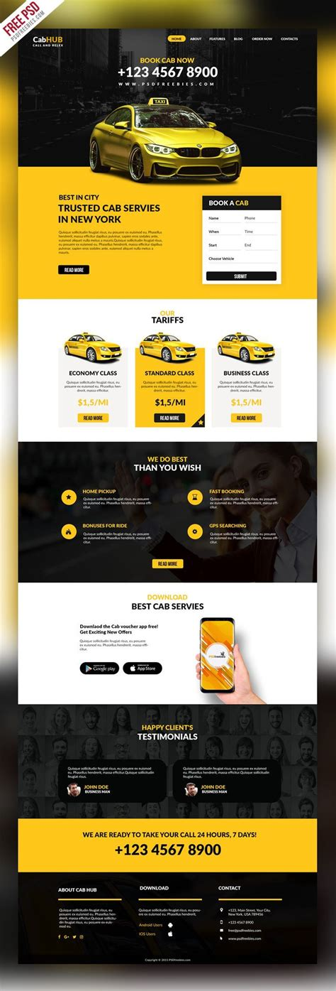 Download Free Taxi Cab Service Company Website Template Psd This Free Website Is A Design For Taxi Company Website Template