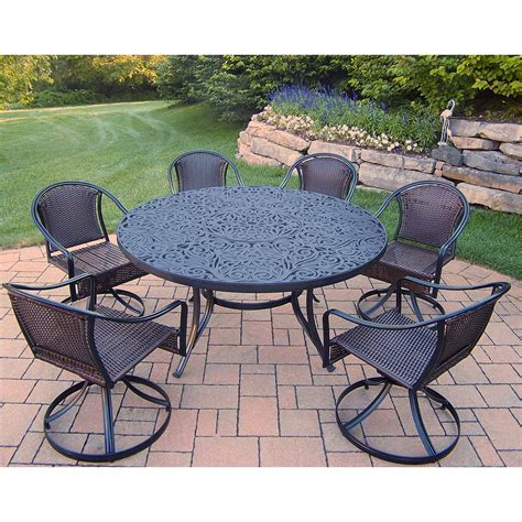 6 swivel chair patio set oakland living tuscany 7 patio set with 60 quot