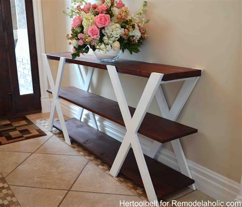 how to build a sofa table remodelaholic diy double x console table