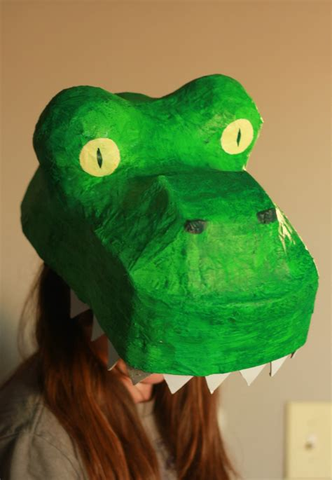 How To Make Paper Mache Dinosaur - paper mache dinosaur mask diy how to