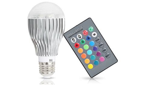 led color changing light bulb magic light with remote groupon goods