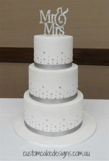 Simple Silver and White Wedding Cake   cake by Custom Cake