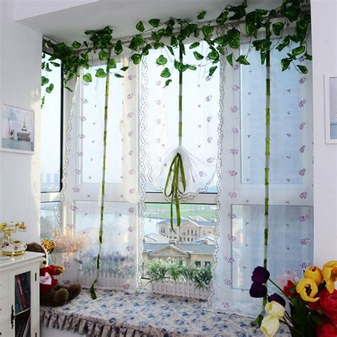 short curtains for living room hot window roller blinds embroider flower short sheer