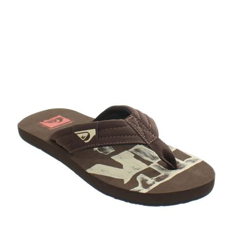12 Flip Flops by Mens Quiksilver Brown Quilted Signature Surf
