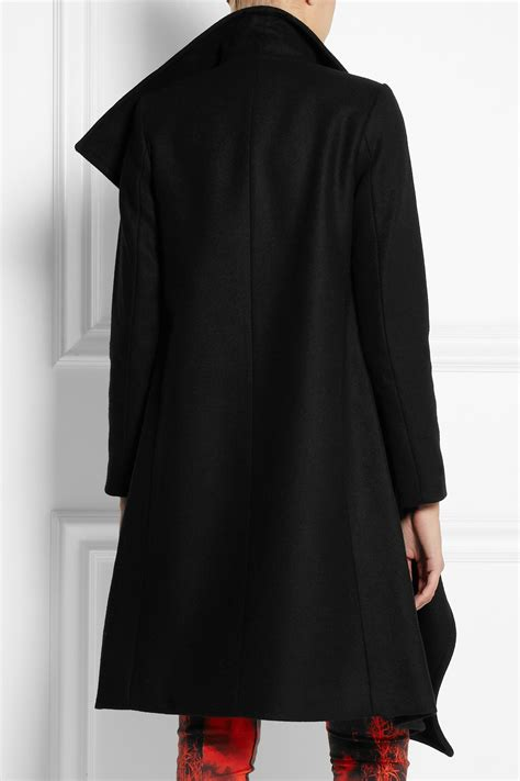 draped wool coat oak draped wool coat in black lyst