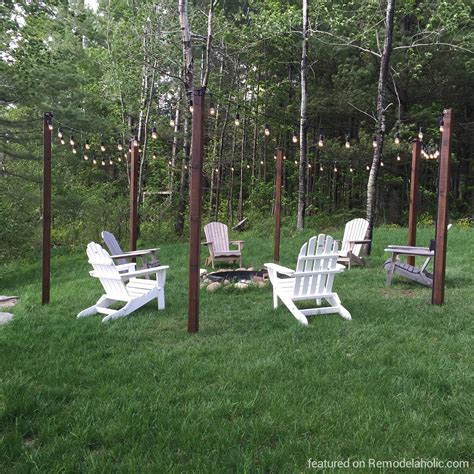 Remodelaholic Easy Diy Outdoor Lighting Around A Fire Pit Diy Backyard Firepit