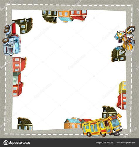 cornice cartone cornice di cartone animato di un camion moto e autobus in