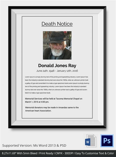 memorial service notice template notices 35 free printable word excel pdf format