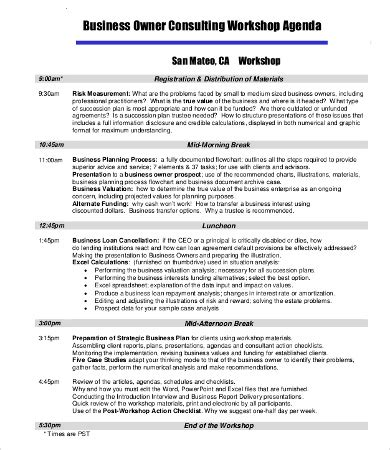 workshop agenda template 10 free word excel pdf