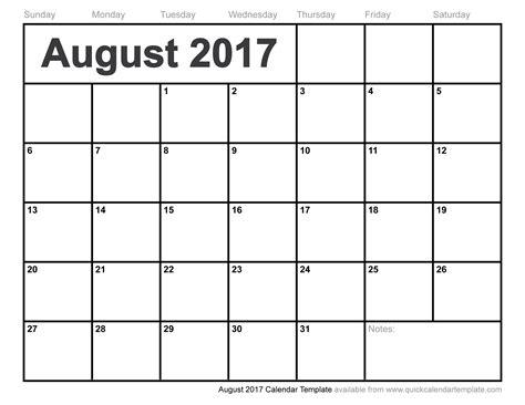 Kalender 2017 August August 2017 Calendar Template