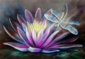 Lotus Flower And Dragonfly Lotus And Dragonfly By Lori