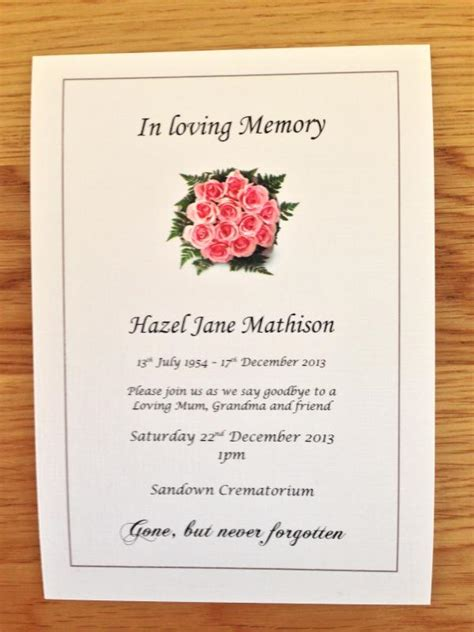 funeral invitations examples