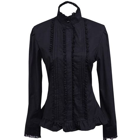 Blouse Black 1900s edwardian style blouses tops sweaters