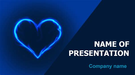 theme ppt blue download free in blue heart powerpoint theme for