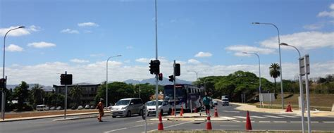 light at intersection traffic lights at nadi airport intersection temporarily