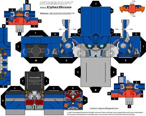 Papercraft Transformers Optimus Prime - cubee optimus prime by cyberdrone on deviantart