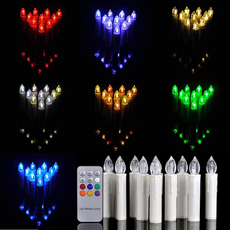 10 pcs remote control 12 colors change led candle light