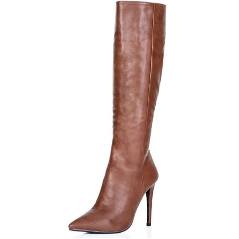 buy heeled pointed toe knee high boots brown leather
