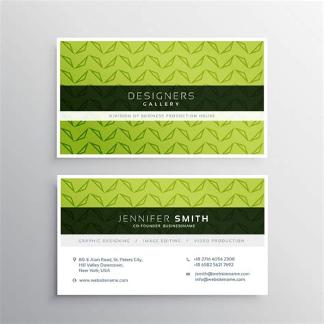 green business card template modern green business card template vector free