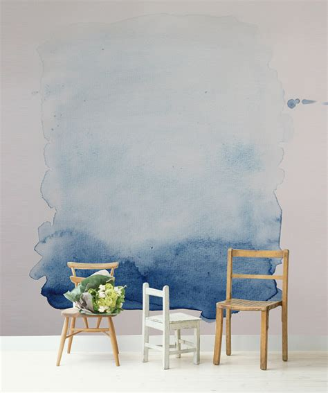 temporary wall murals blue wash removable wall mural 66x96 watercolour