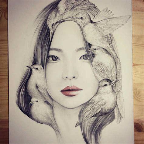 imagenes coreanas llorando los dibujos de retratos y aves de okart