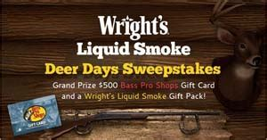 Bass Pro Gift Card Discount - wright s liquid smoke gluten free sweepstakes win 500 bass pro gift card and