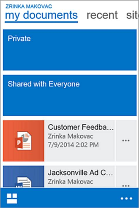 mobile device  work  sharepoint  sites