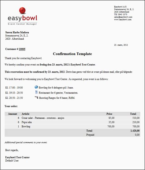 Reservation Letter For Product Confirmation Module Easybowl