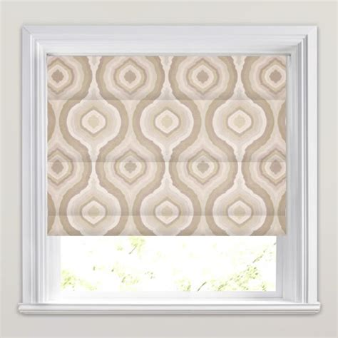 brown patterned roman blinds shimmering metallic beige brown cream retro patterned