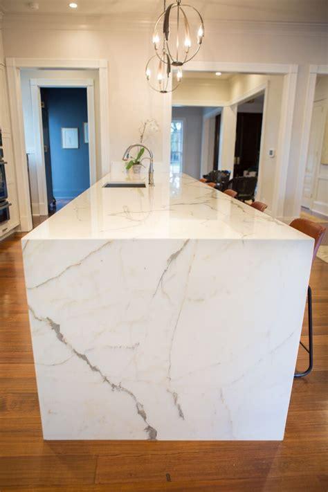 calacatta borghini marble waterfall island kitchen
