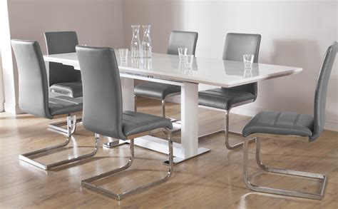 White Extending Dining Table And Chairs Tokyo White High Gloss Extending Dining Table And 8 Chairs Set Perth Grey Only 163 799 99